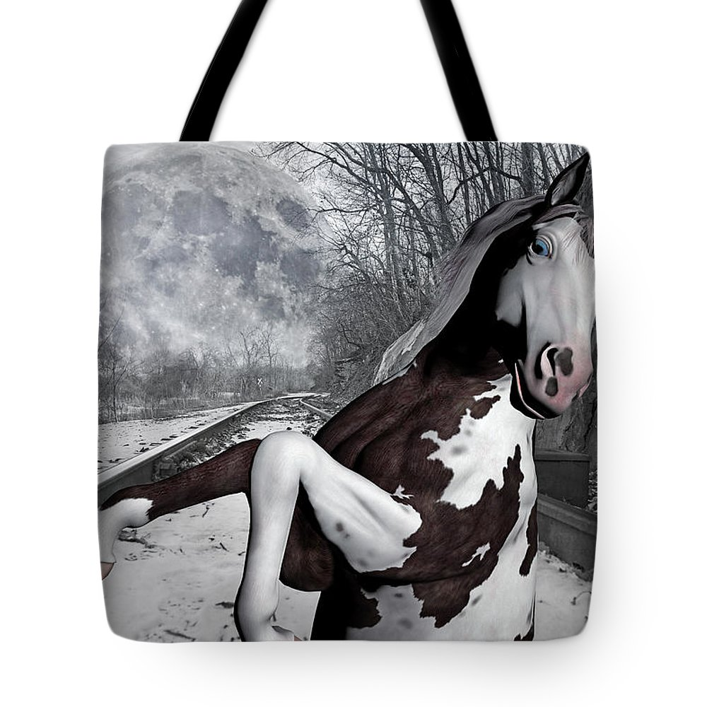 The Tote Bag featuring the mixed media The Pony Express by Betsy Knapp