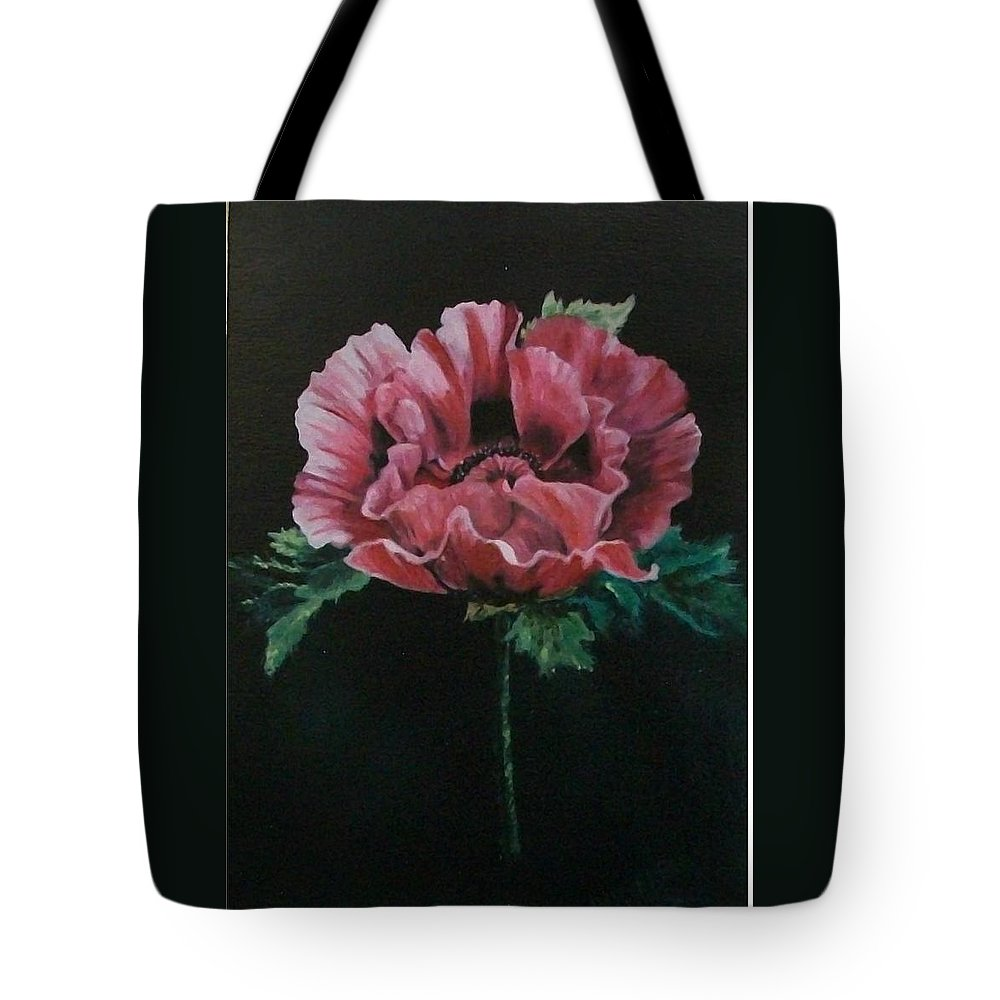 Flower Tote Bag featuring the painting The Poppy by Wanda Dansereau