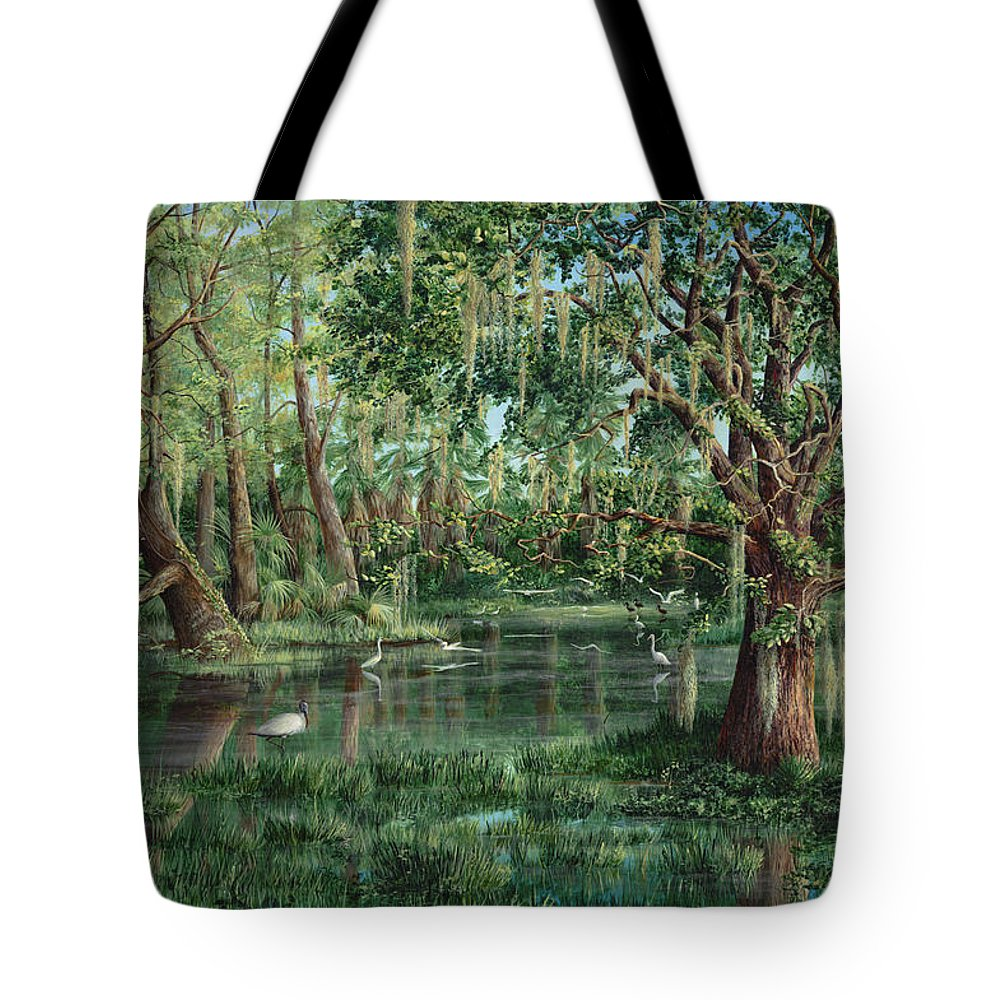 Nature Tote Bag featuring the painting The Preacher And His Flock by AnnaJo Vahle
