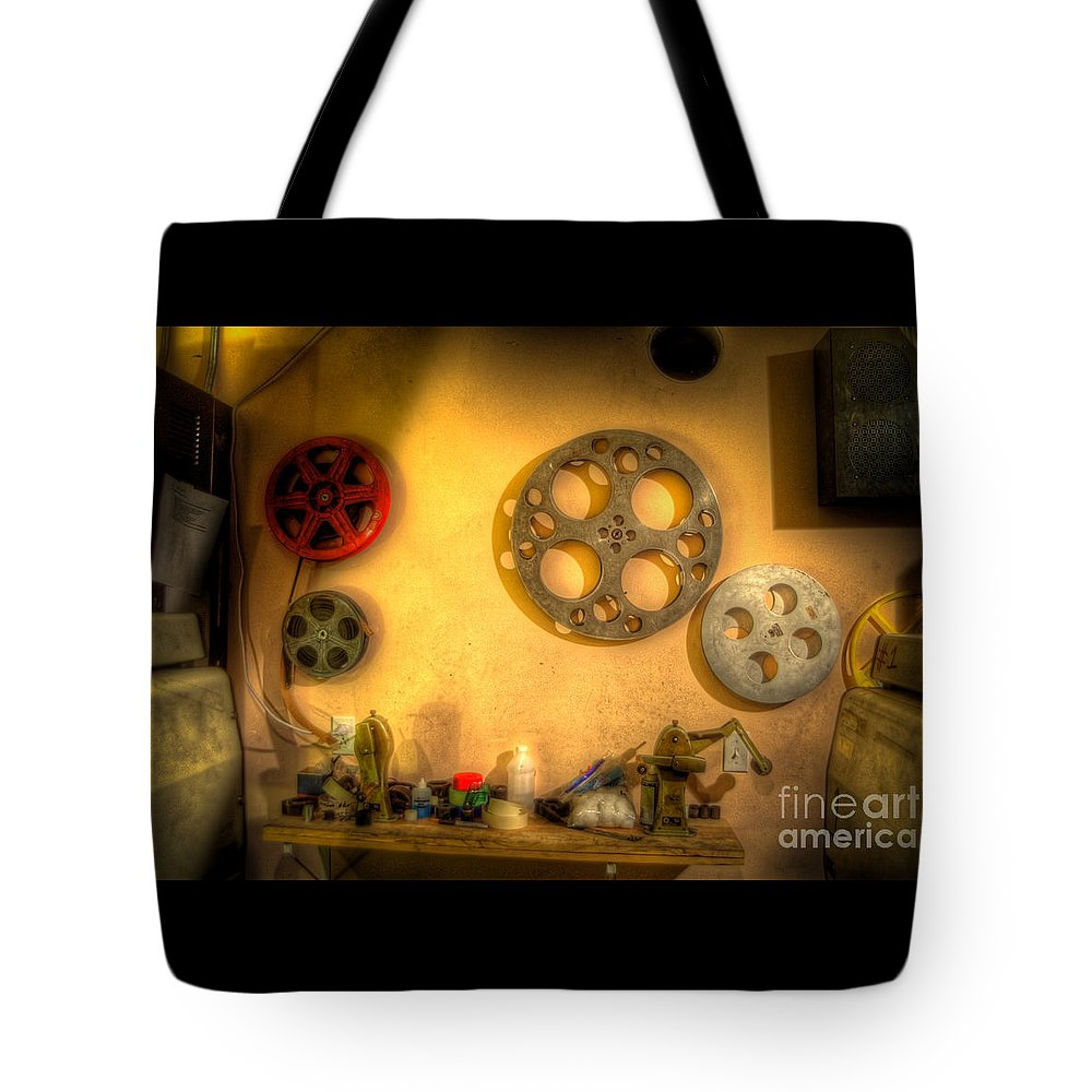 Hdr Tote Bag featuring the photograph The Projection Room 4675 by Timothy Bischoff
