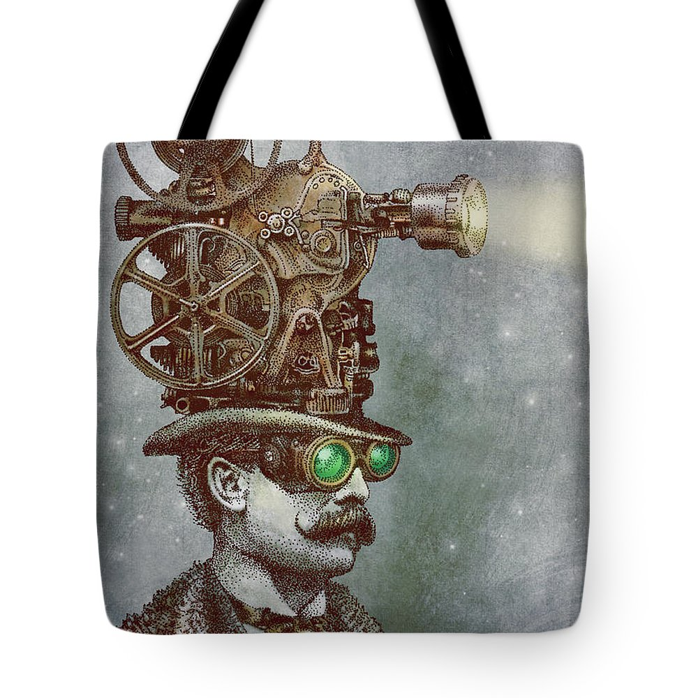 Projector Tote Bag featuring the drawing The Projectionist by Eric Fan