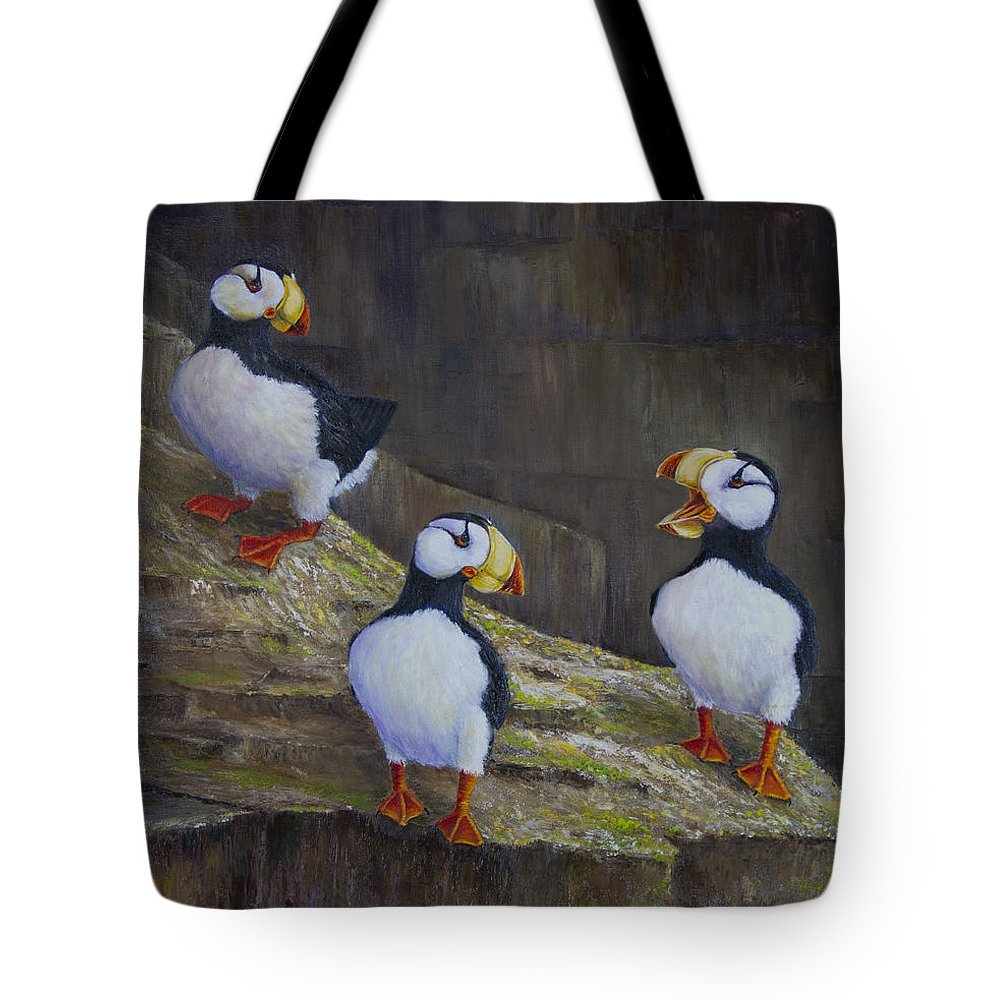 Horned Tote Bag featuring the painting The Puffin Report by Dee Carpenter