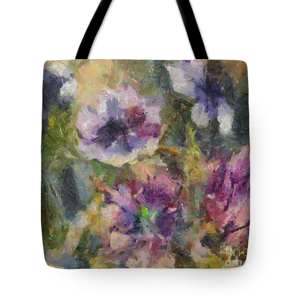 Still Life Tote Bag featuring the painting The Purple Bouquet by Dragica Micki Fortuna