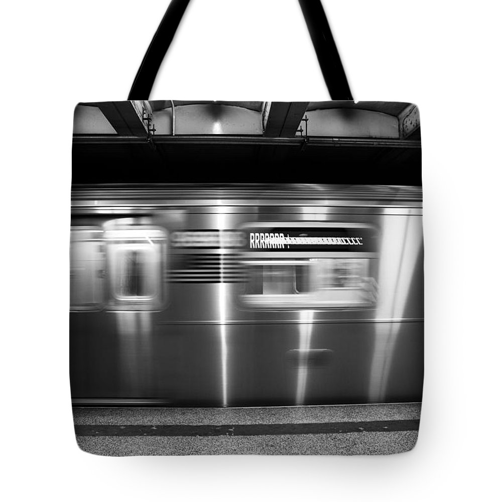Nyc Tote Bag featuring the photograph The R Train Nyc Subway by John McGraw