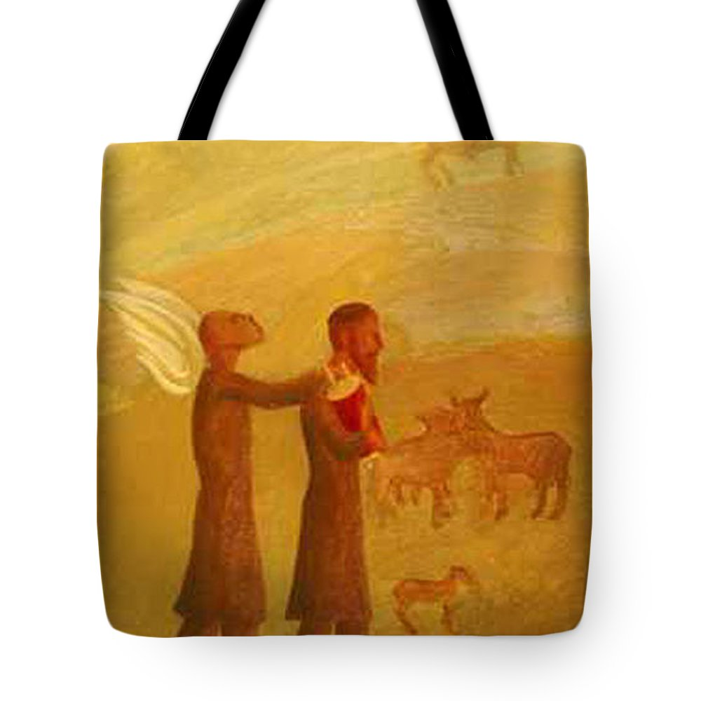 The Rabbi Leading The Angel Tote Bag featuring the painting The Rabbi Leading The Angel by Israel Tsvaygenbaum