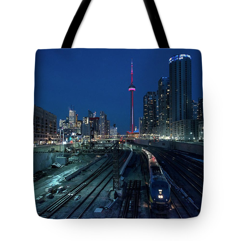 Train Tote Bag featuring the photograph The Railway Lands Toronto by This Image