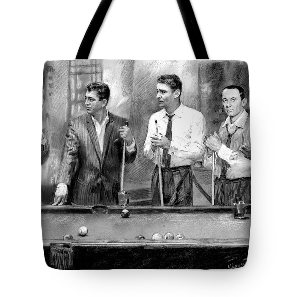 The Rat Pack Tote Bag featuring the drawing The Rat Pack by Viola El