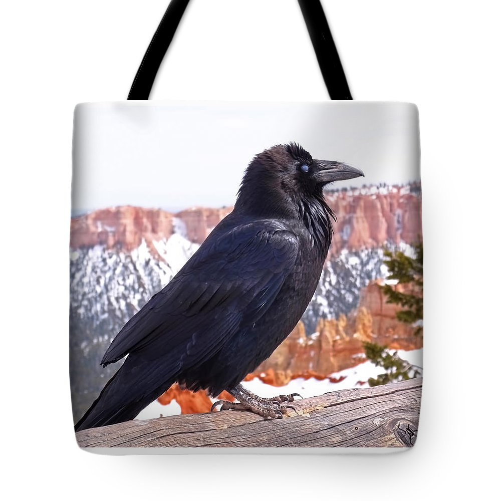 Raven Tote Bag featuring the photograph The Raven by Rona Black