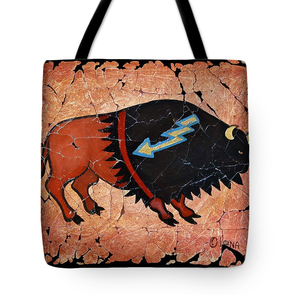 Red Bison Tote Bag featuring the painting The Red Buffalo Fresco by Lena Owens OLena Art