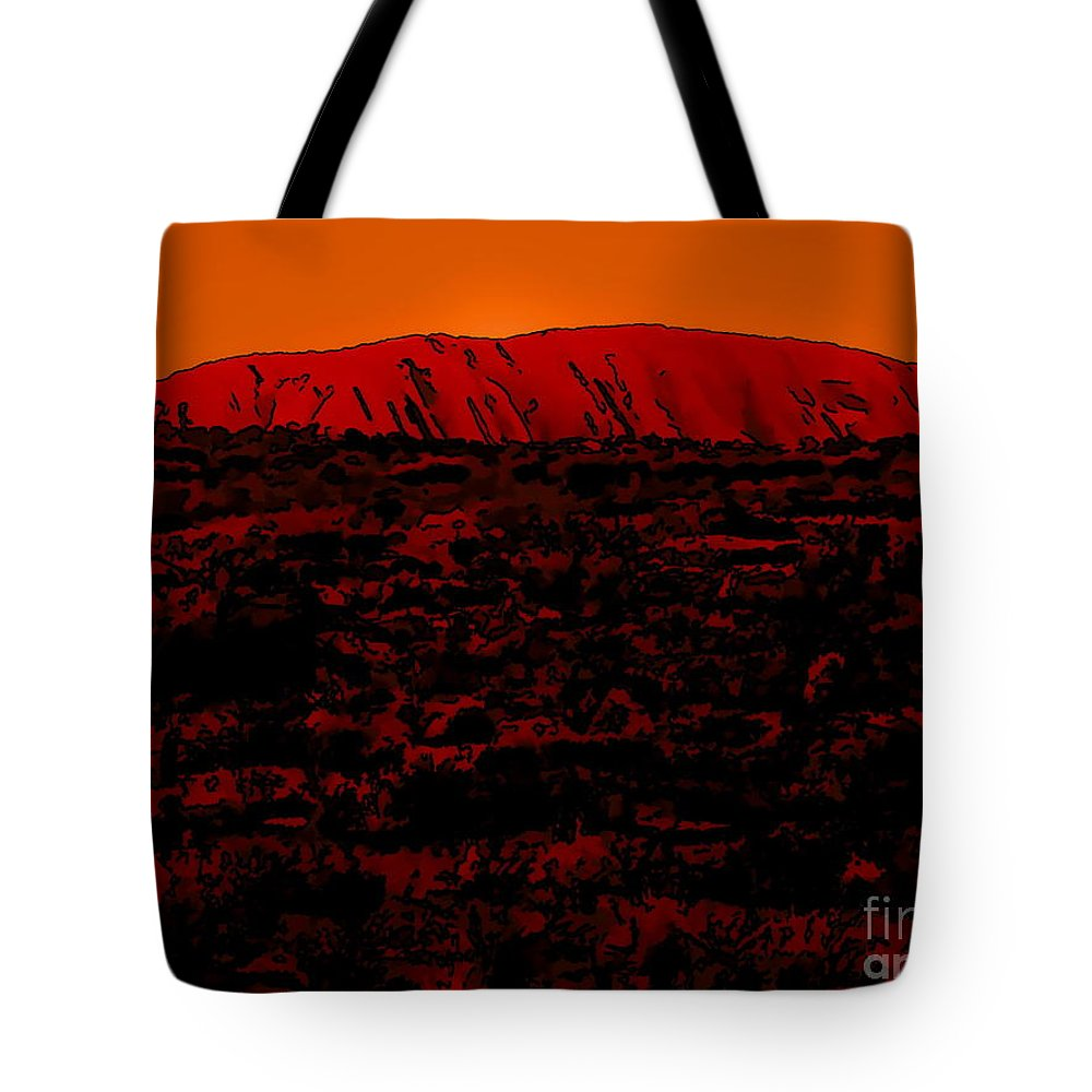 Digital Drawing Tote Bag featuring the digital art The Red Center D by Tim Richards