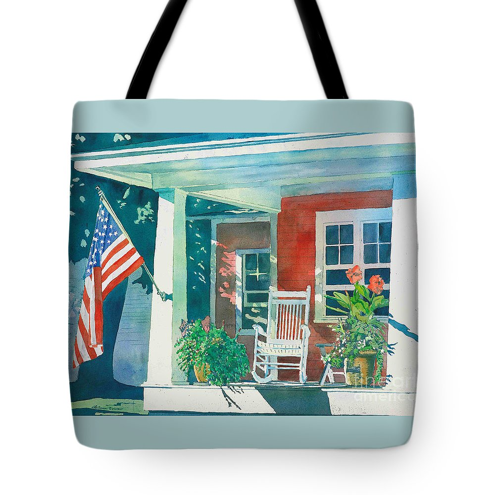 Pentwater Tote Bag featuring the painting The Red Cottage by LeAnne Sowa