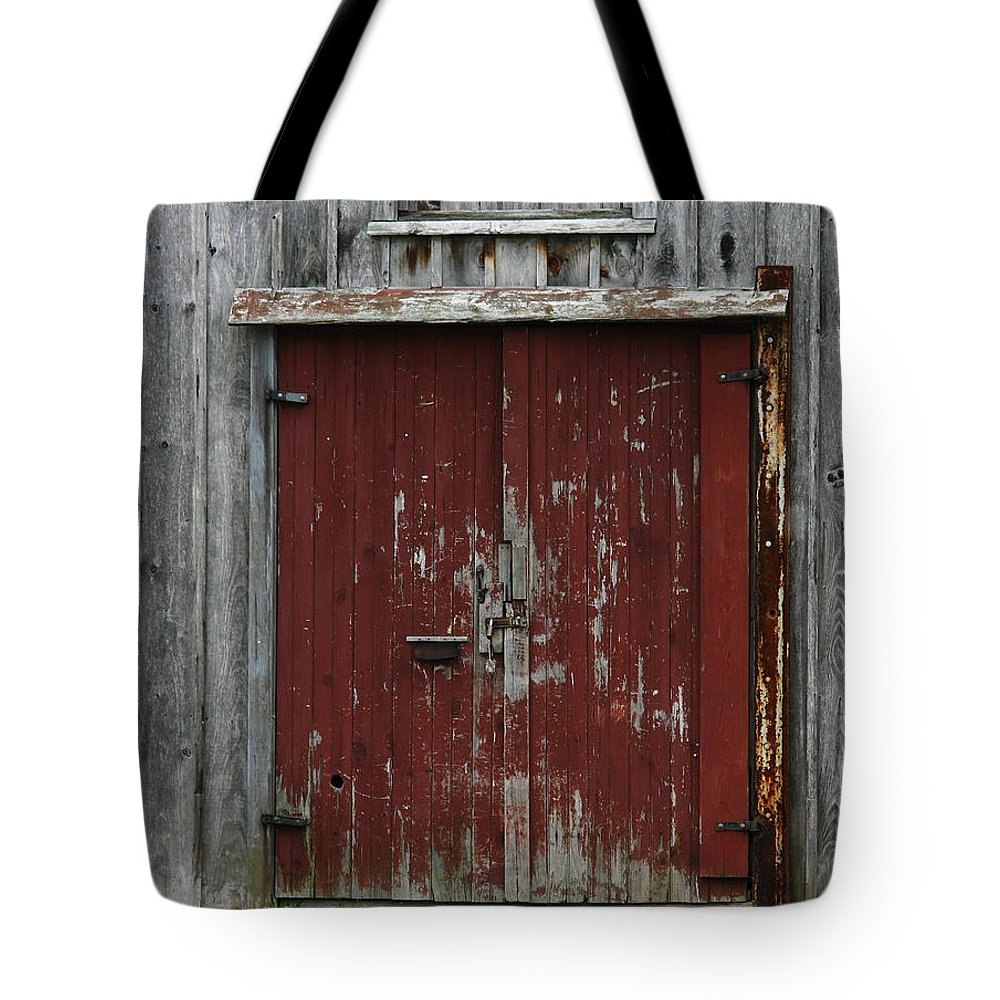 The Red Door Tote Bag featuring the photograph The Red Door by Denyse Duhaime