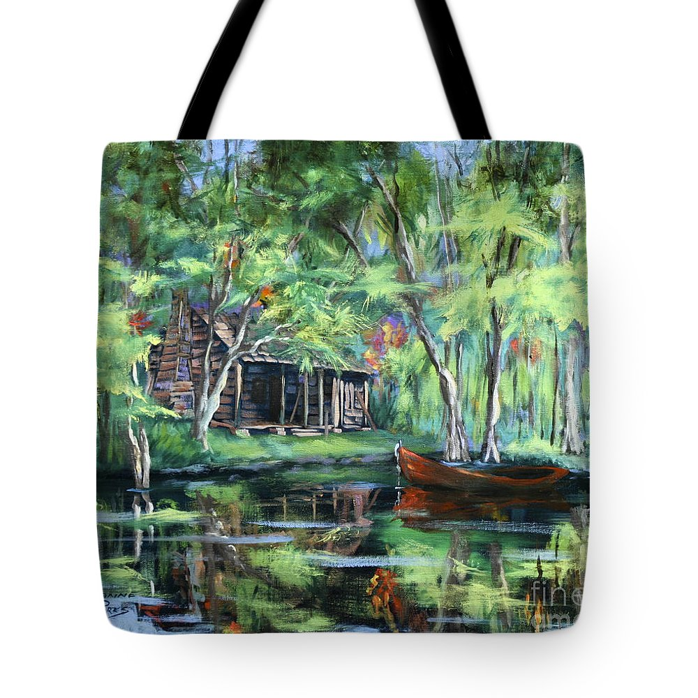 Bayou Cabin Tote Bag featuring the painting The Red Pirogue by Dianne Parks
