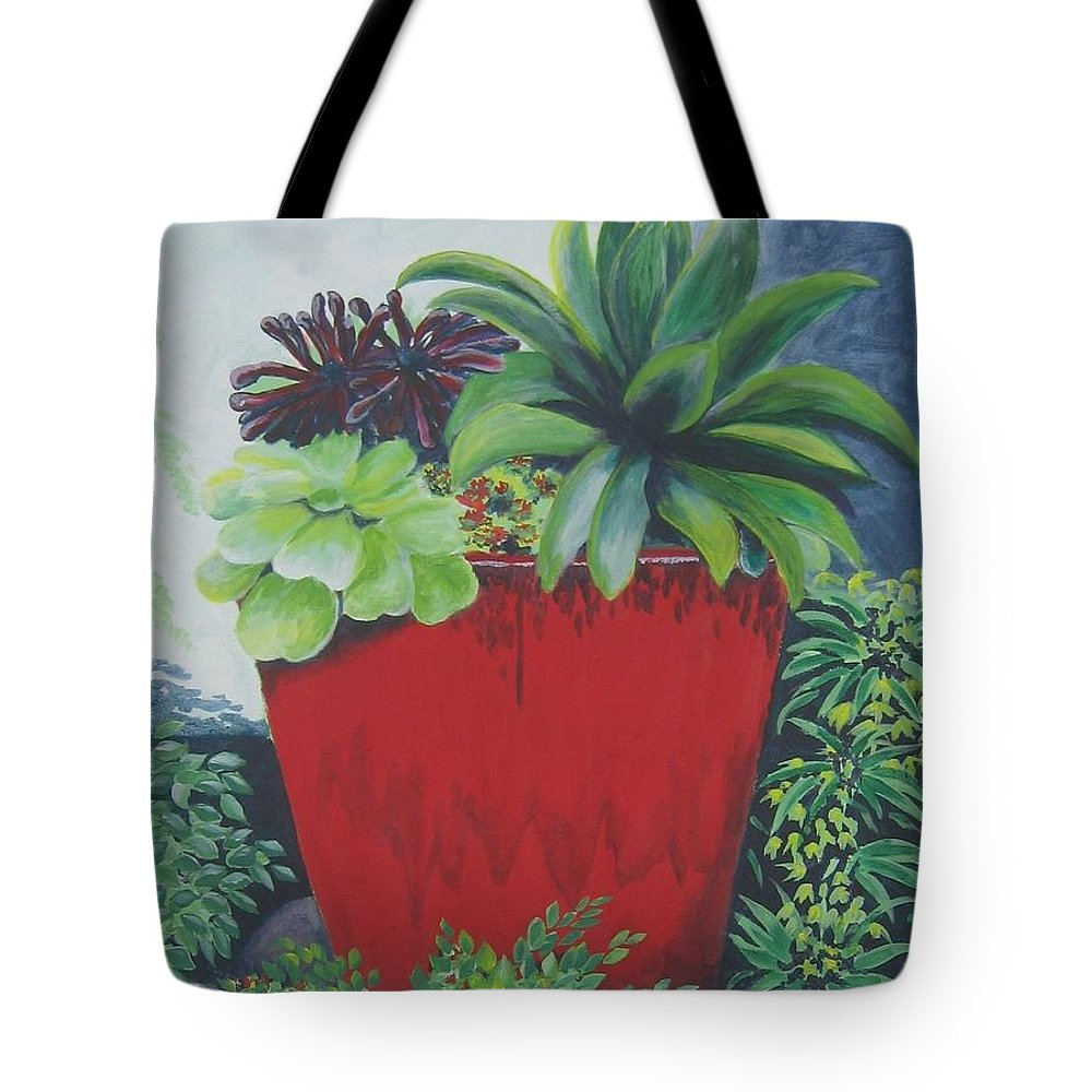 Red Pot Tote Bag featuring the painting The Red Pot by Suzanne Theis