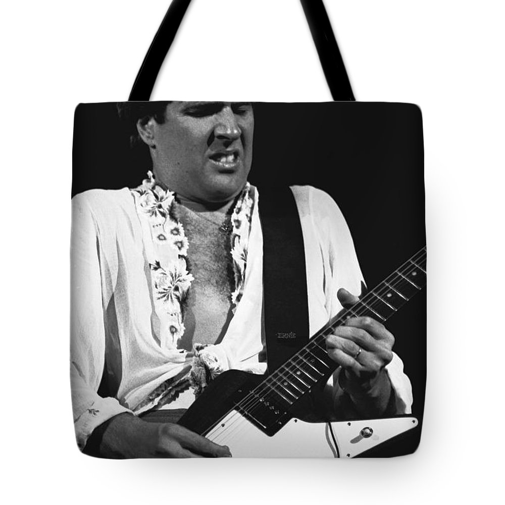Sammy Hagar Tote Bag featuring the photograph The Red Rocker In Black And White by Ben Upham