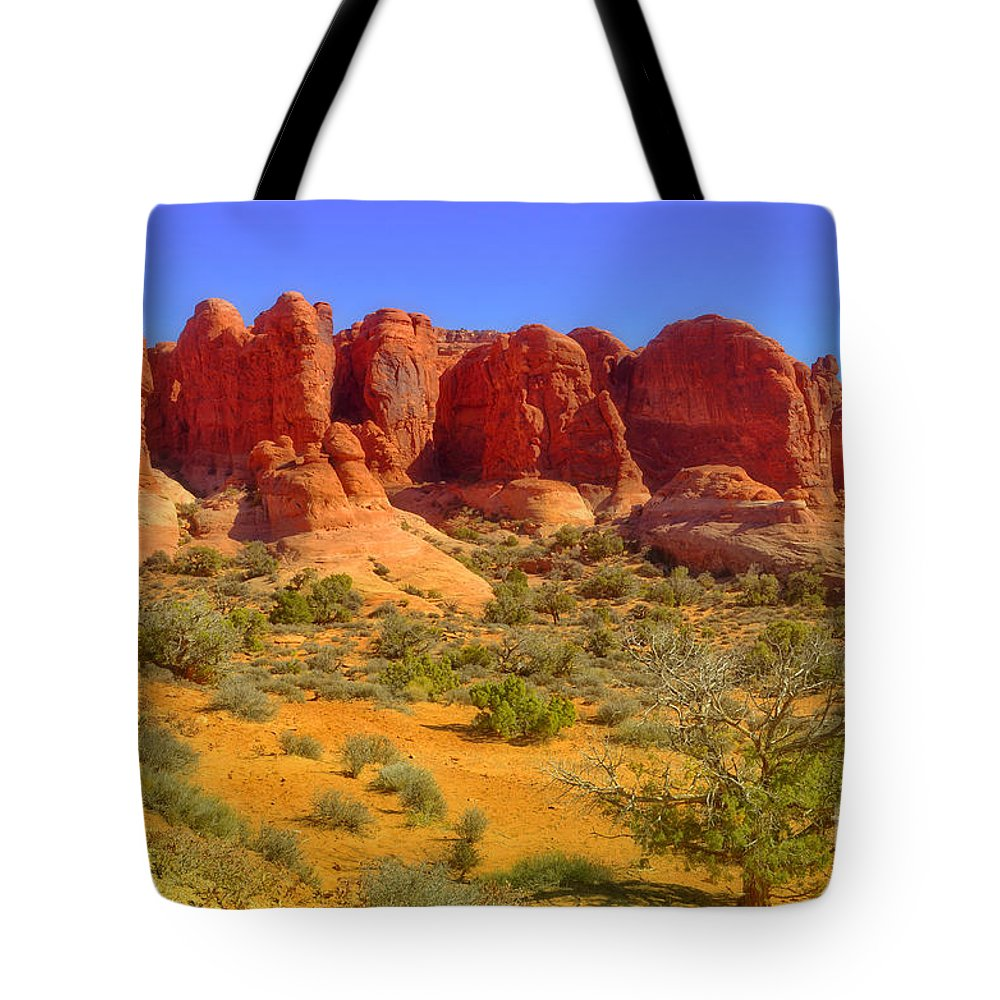 Arches National Park Tote Bag featuring the photograph The Red Rocks by Tara Turner