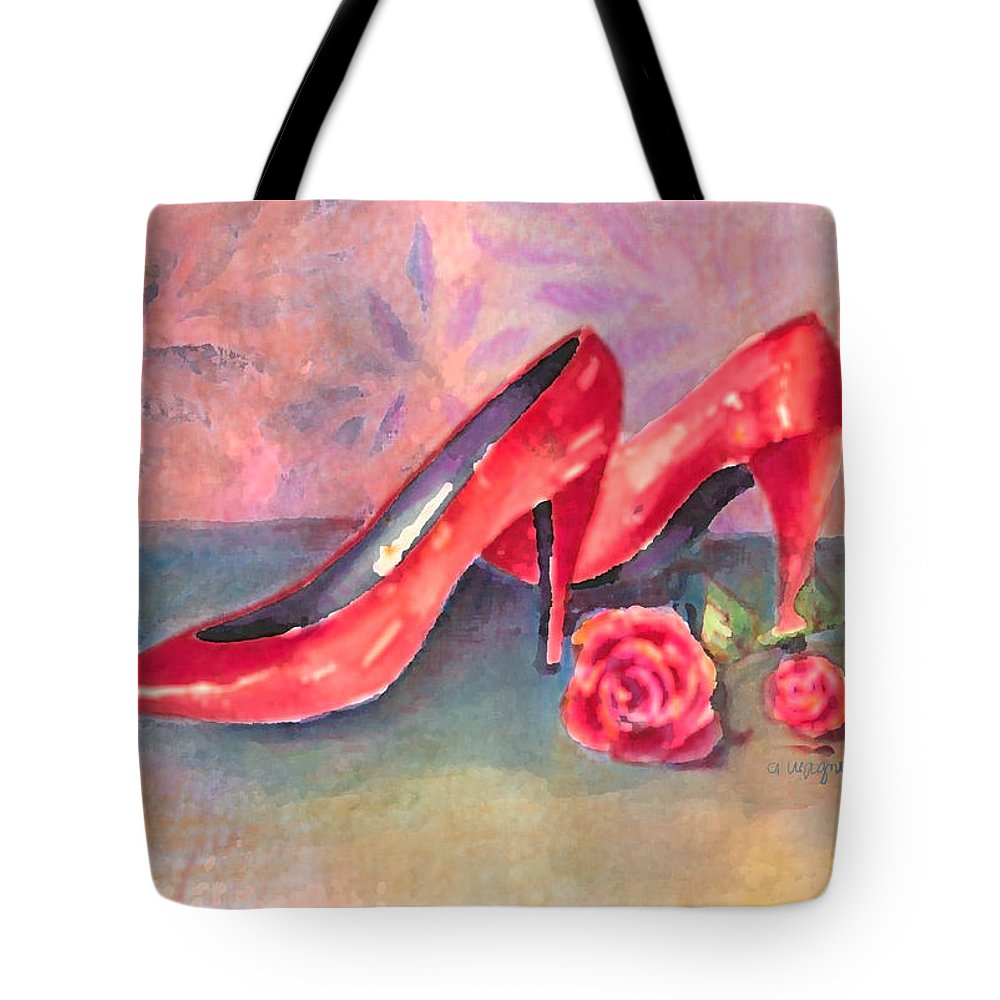 Shoe Tote Bag featuring the painting The Red Shoes by Arline Wagner