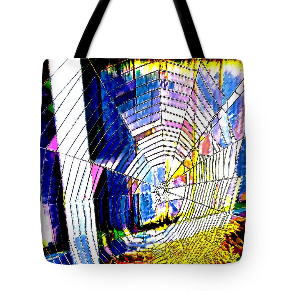 Web Tote Bag featuring the digital art The Refracted Cobweb by Steve Taylor