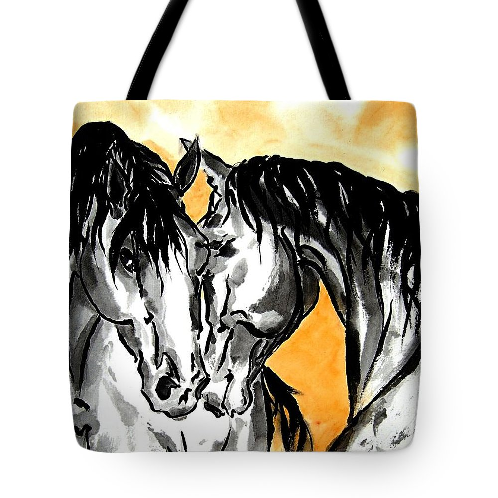 Chinese Brush Painting Tote Bag featuring the painting The Reunion by Bill Searle