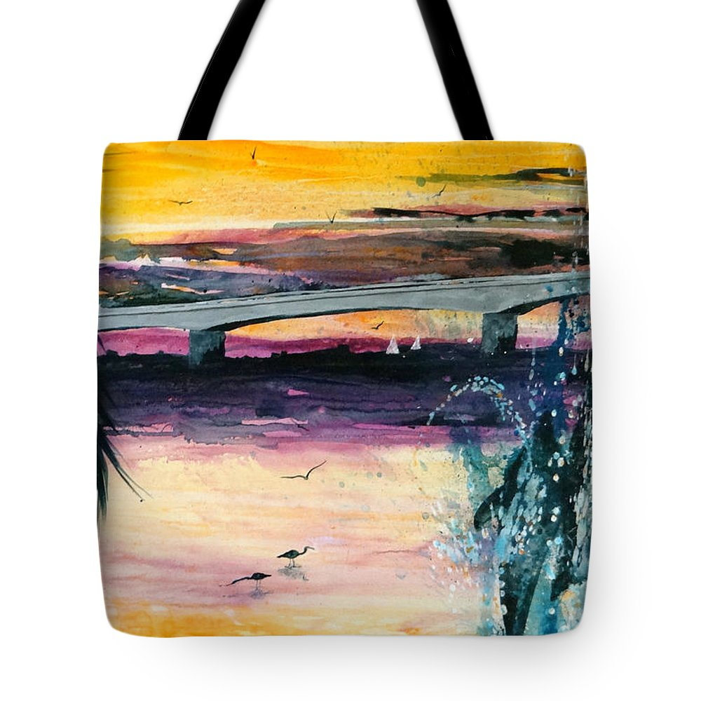 Sarasota Ringling Bridge Tote Bag featuring the painting The Ringling by Larry Johnson