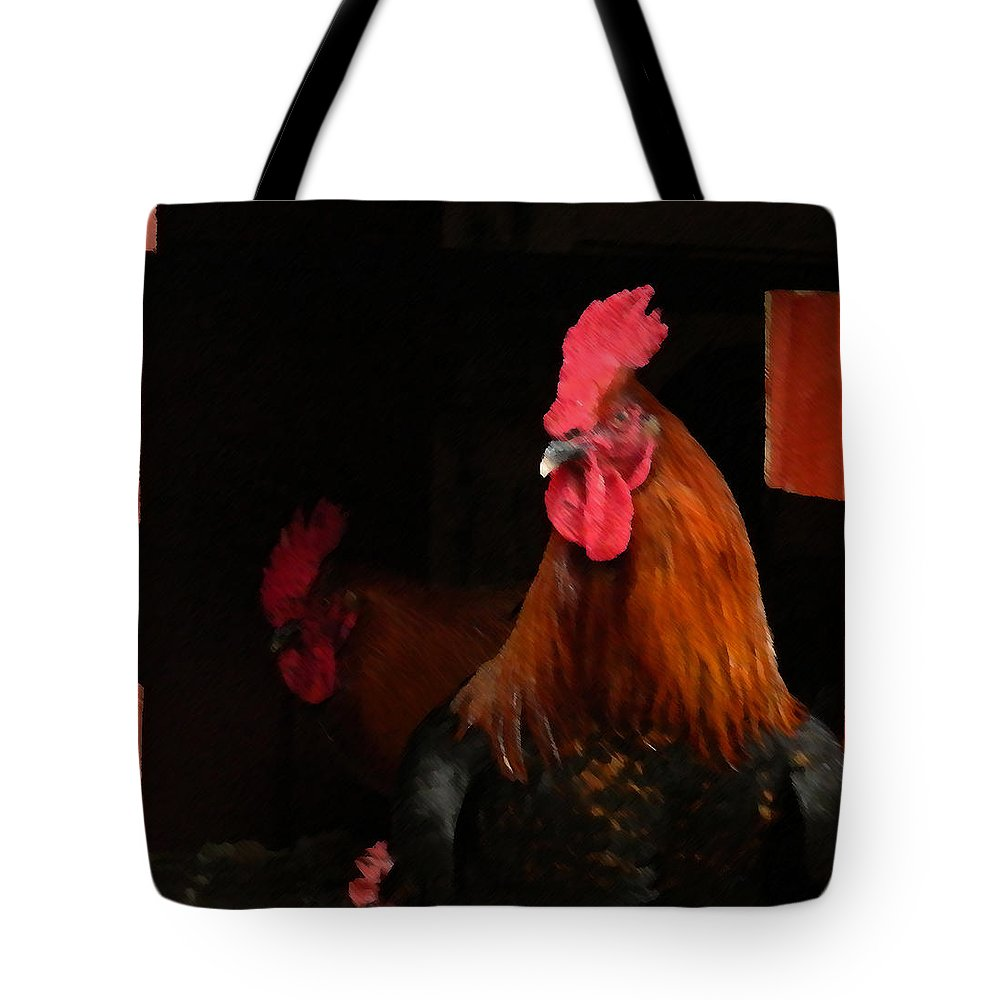Cochin Tote Bag featuring the painting the Roosters by George Pedro
