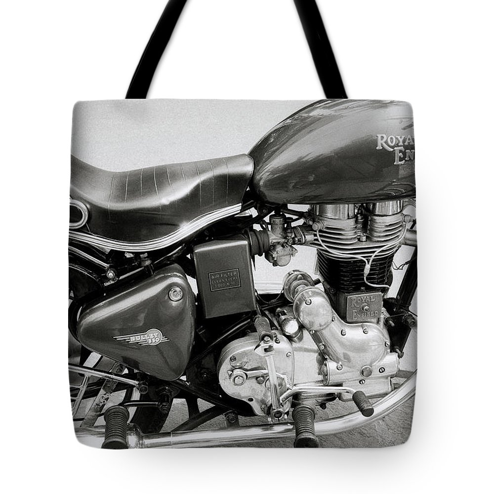 Motorbike Tote Bag featuring the photograph The Royal Enfield Motorbike by Shaun Higson