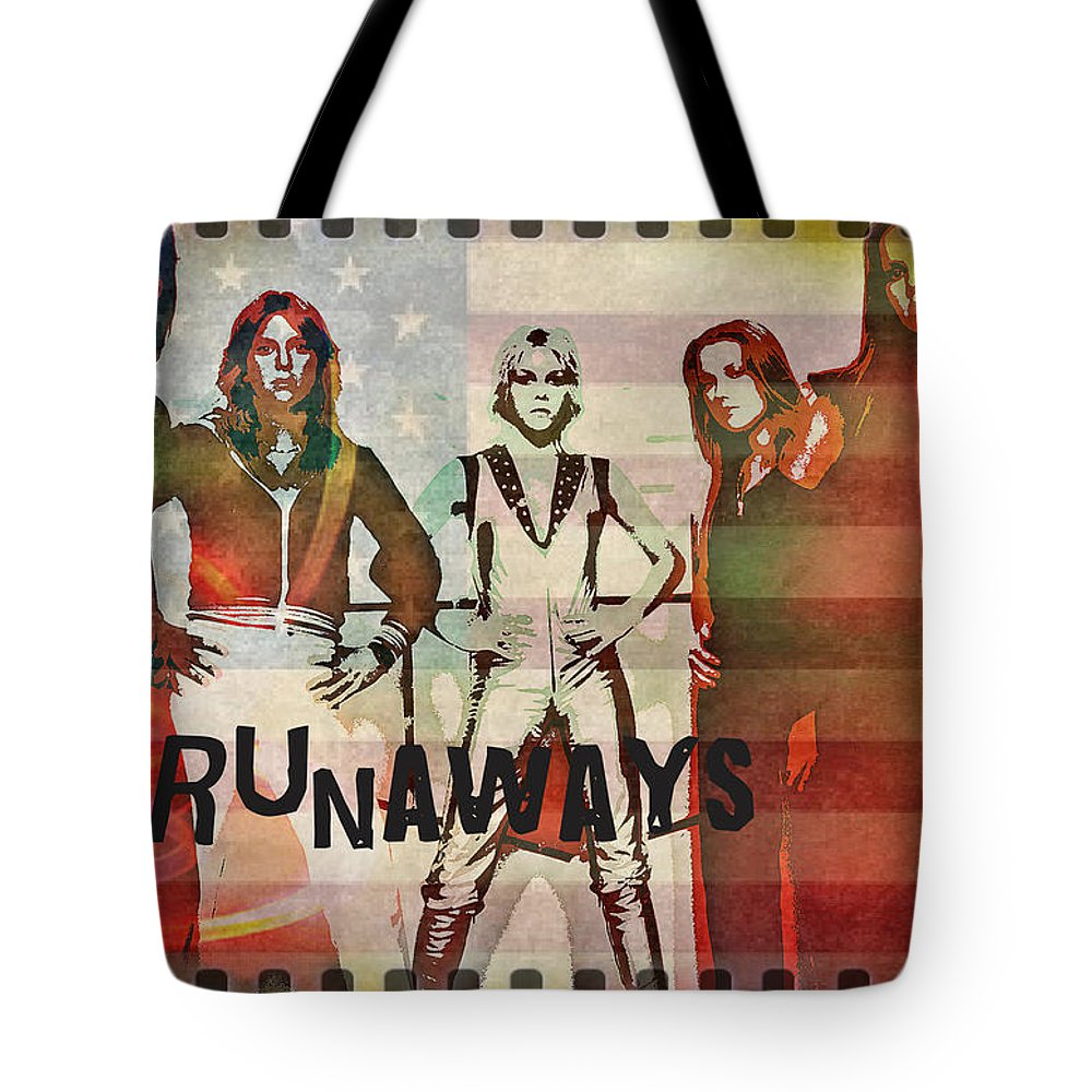 The Runaways Tote Bag featuring the digital art The Runaways - 1977 by Absinthe Art By Michelle LeAnn Scott