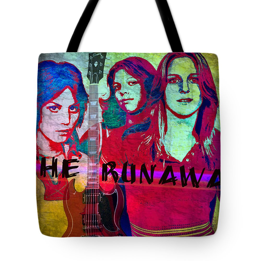 The Runaways Tote Bag featuring the digital art The Runaways - Up Close by Absinthe Art By Michelle LeAnn Scott