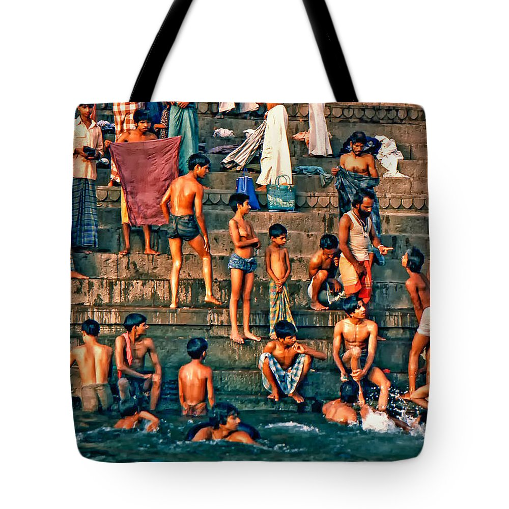 Varanasi Tote Bag featuring the photograph The Scolding by Steve Harrington