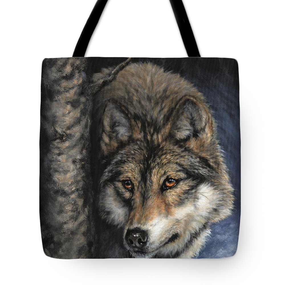 Wolf Tote Bag featuring the painting The Scout by Donna Hillman Walsh