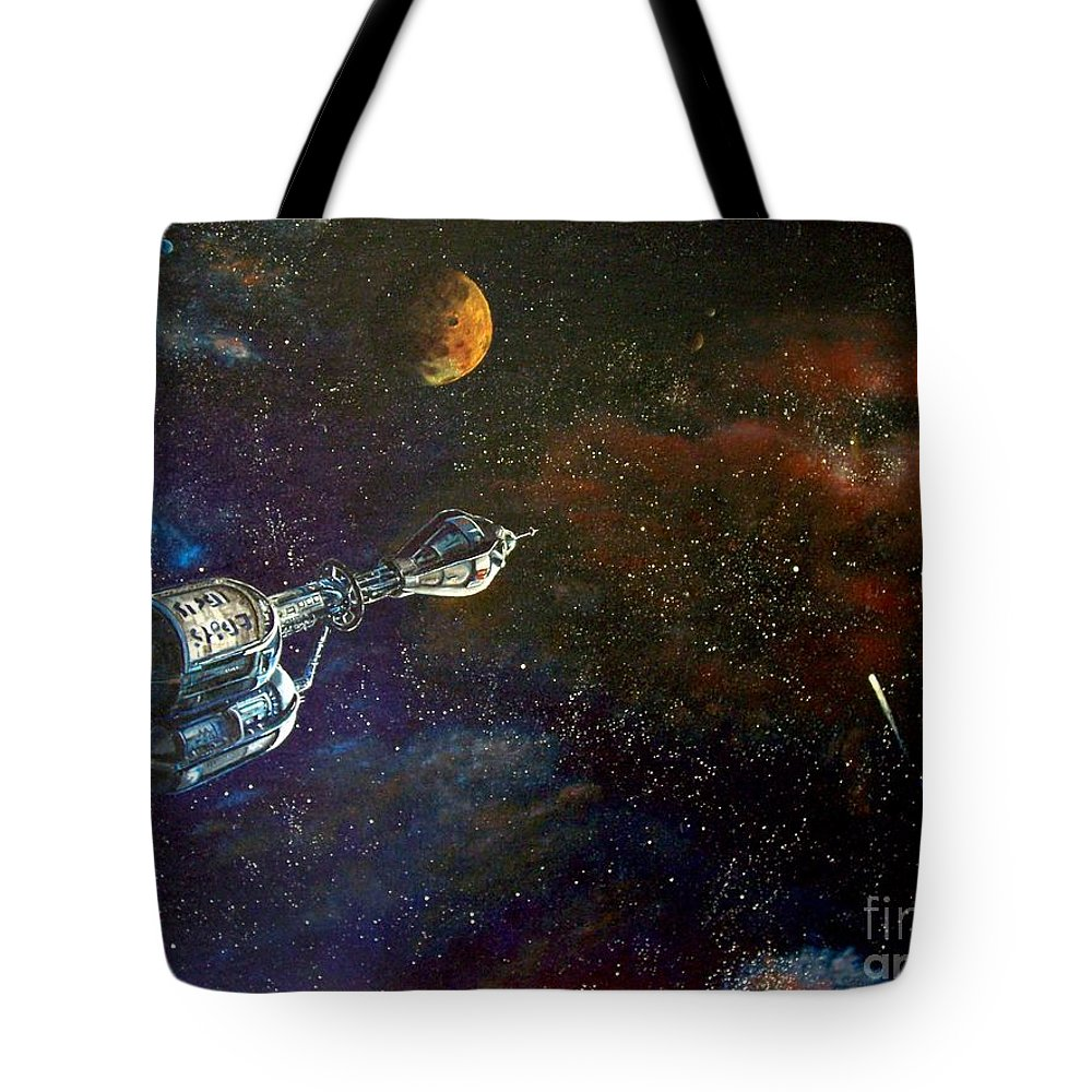 Vista Horizon Tote Bag featuring the painting The Search For Earth by Murphy Elliott
