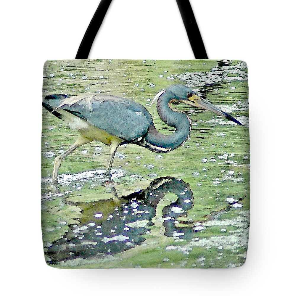 Tricolored Heron Tote Bag featuring the digital art The Search Da by Norman Johnson