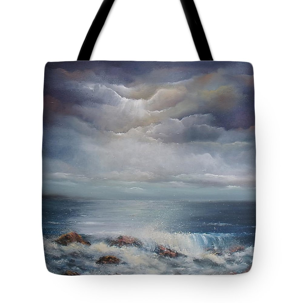 Atlantic Ocean Tote Bag featuring the painting The Secret Of The Sea by Donna McGee