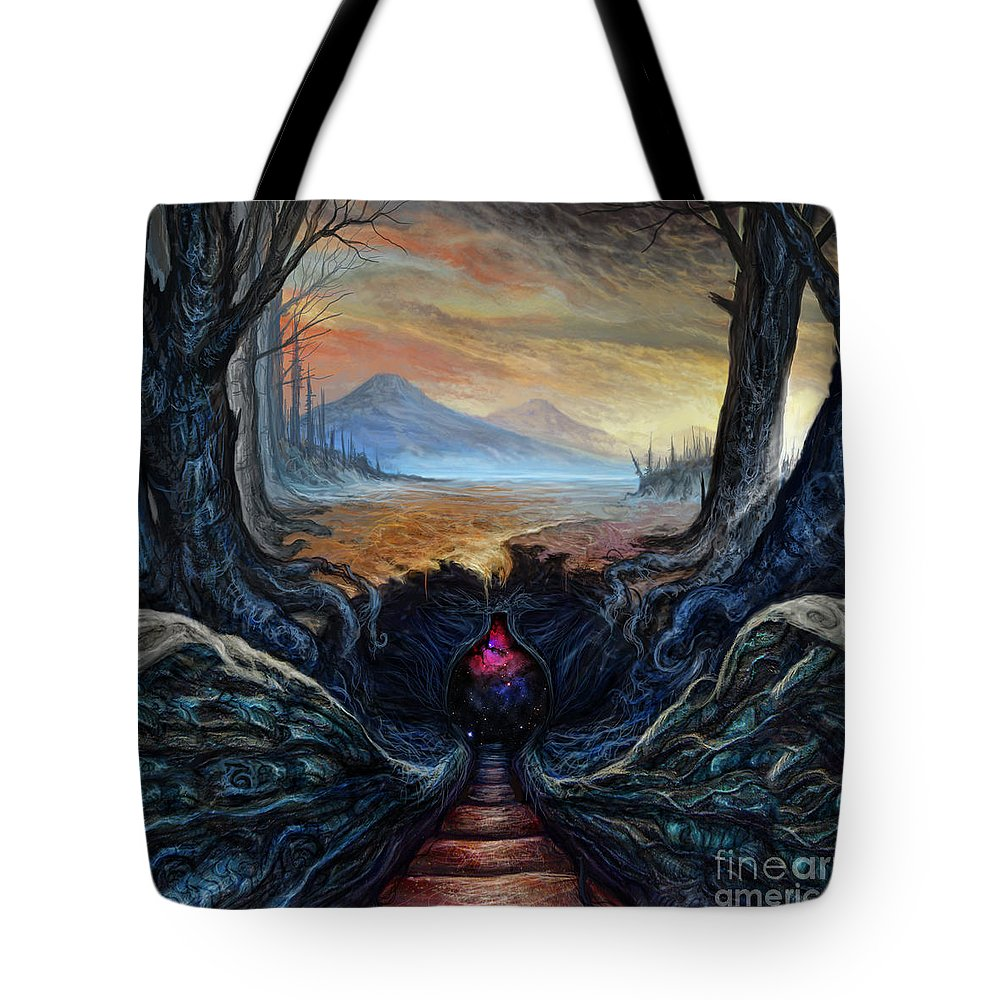 Landscape Tote Bag featuring the mixed media The Secret by Tony Koehl