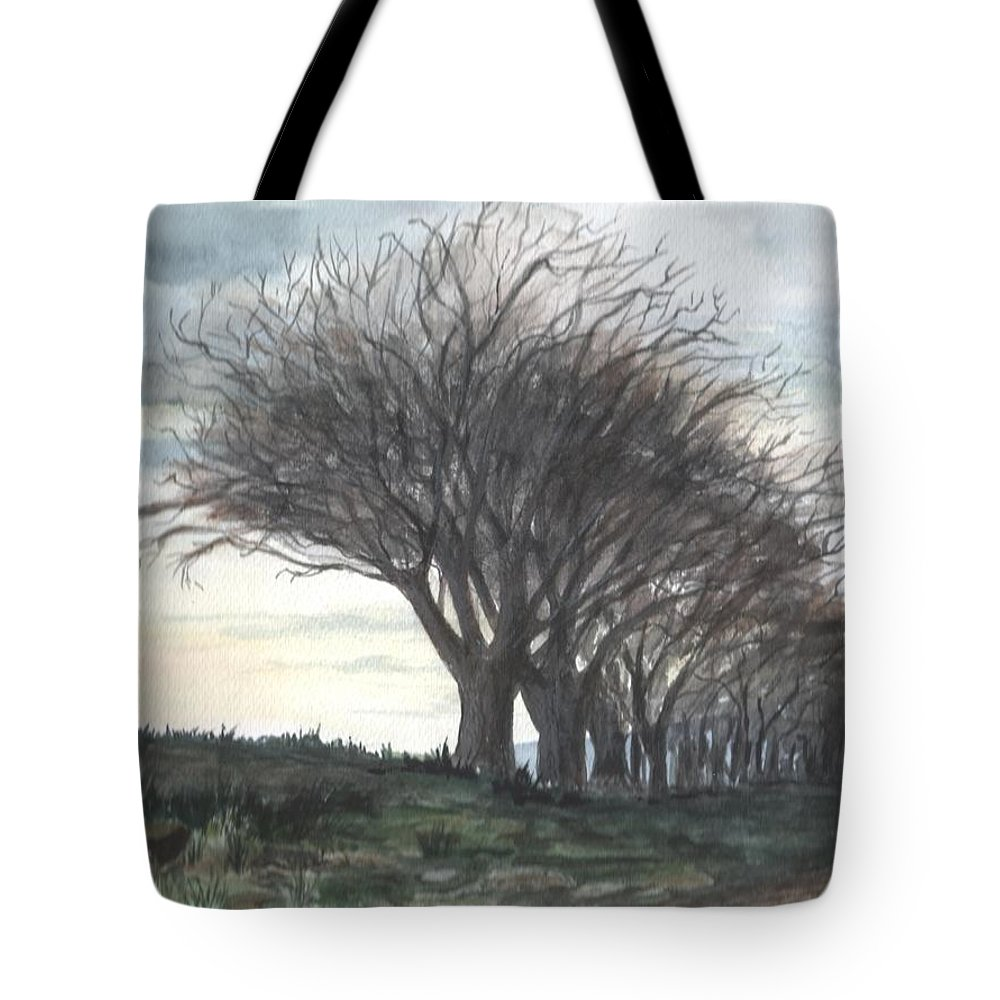 Watercolor Tote Bag featuring the painting The Sentinels by Brenda Owen