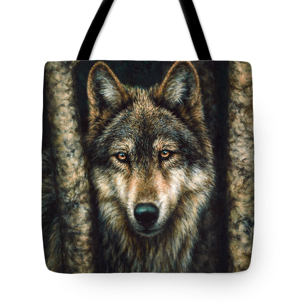 Wolf Tote Bag featuring the painting The Sentry by Donna Hillman Walsh