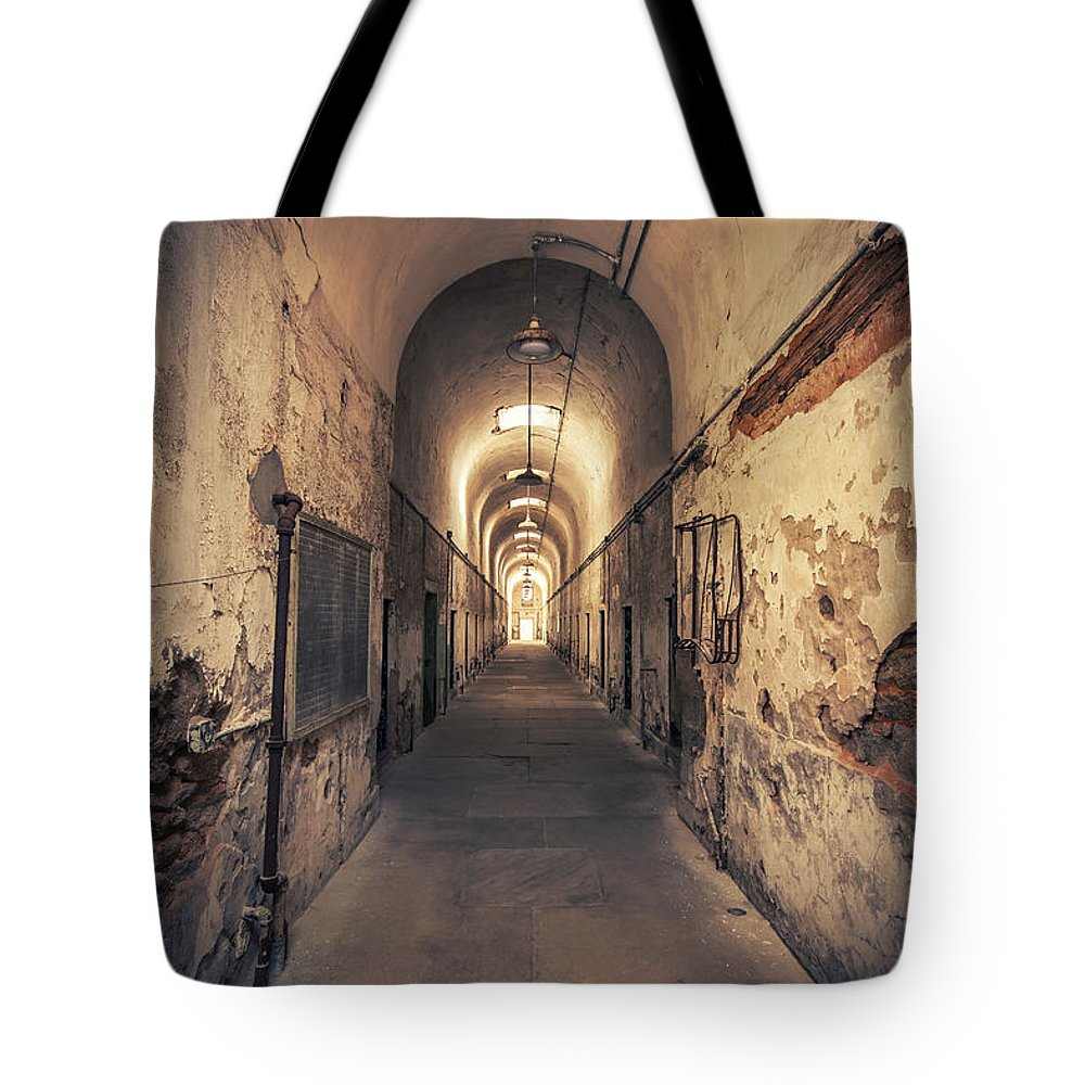 Eastern State Tote Bag featuring the photograph The Shadowpath by Evelina Kremsdorf