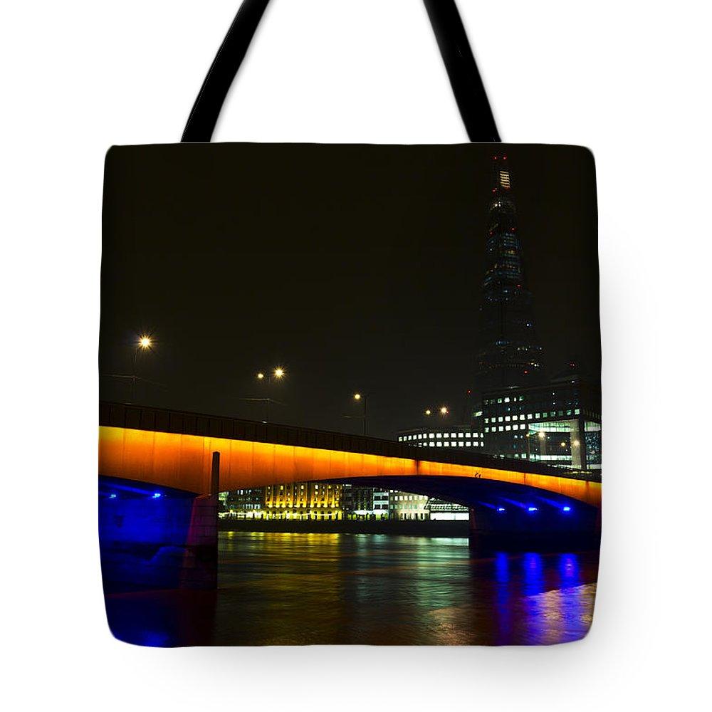 Shard Tote Bag featuring the photograph The Shard And London Bridge by David Pyatt