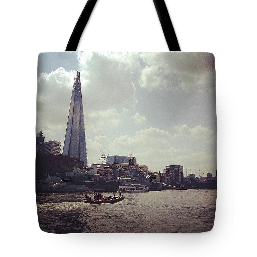 England Tote Bag featuring the photograph The Shard And Thames by Denise Taylor