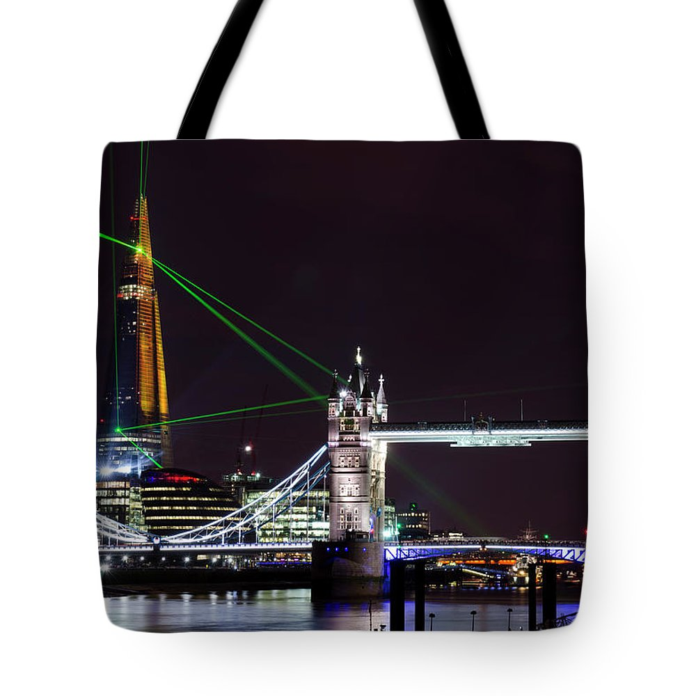 Gothic Style Tote Bag featuring the photograph The Shard Skyscraper Opening Laser by Dynasoar
