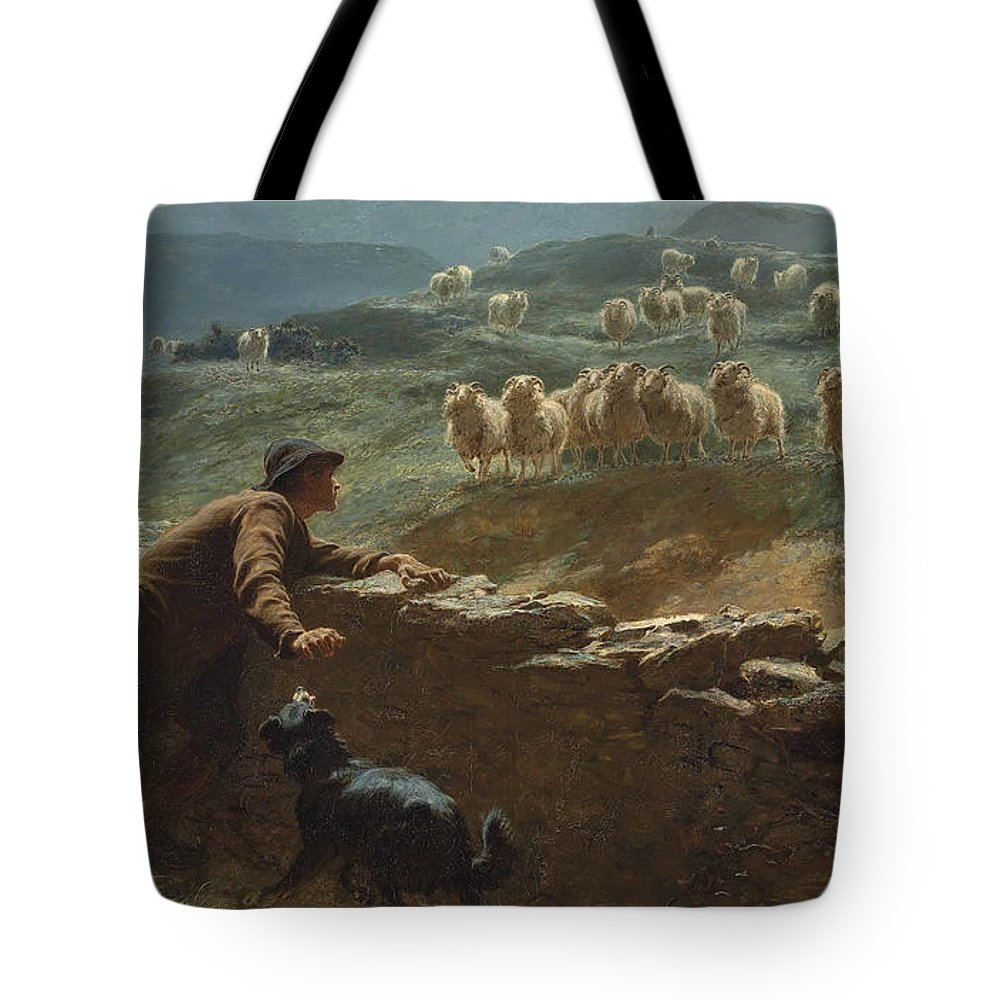 Briton Riviere Tote Bag featuring the painting The Sheepstealer by Briton Riviere
