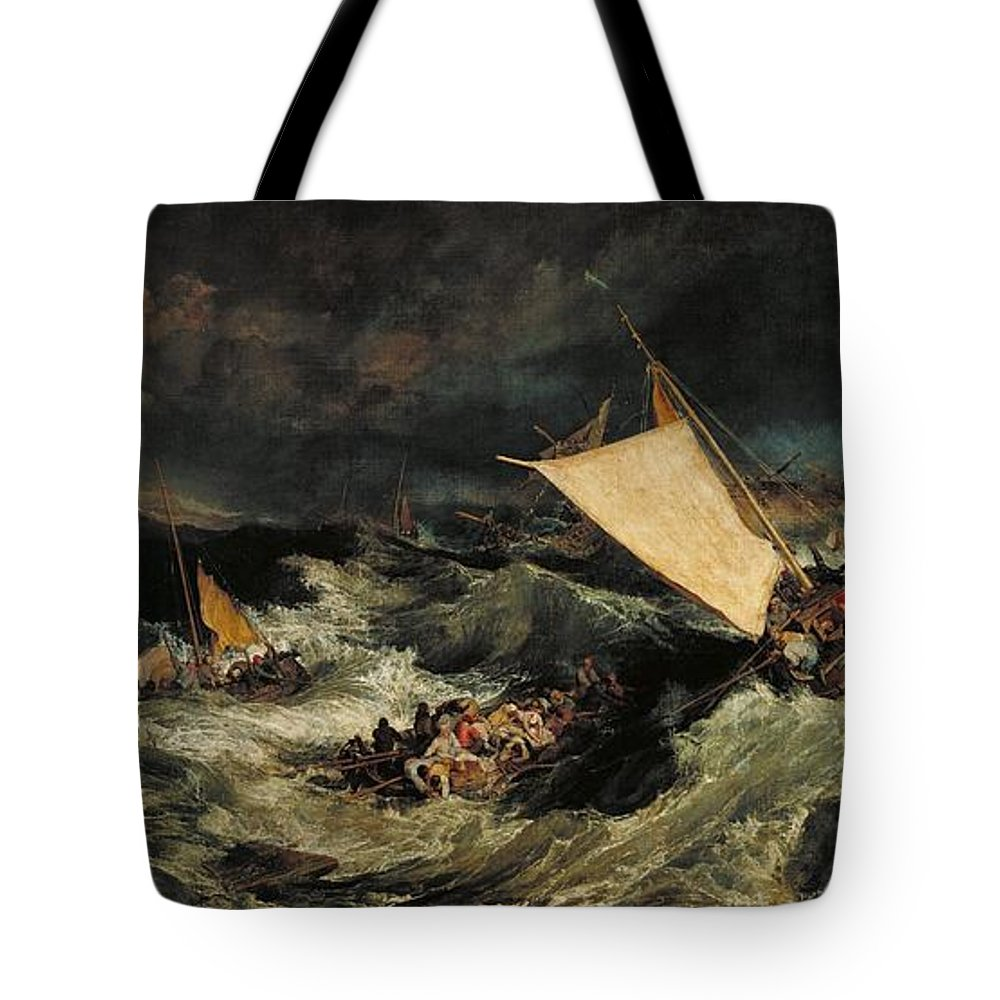 1805 Tote Bag featuring the painting The Shipwreck by JMW Turner