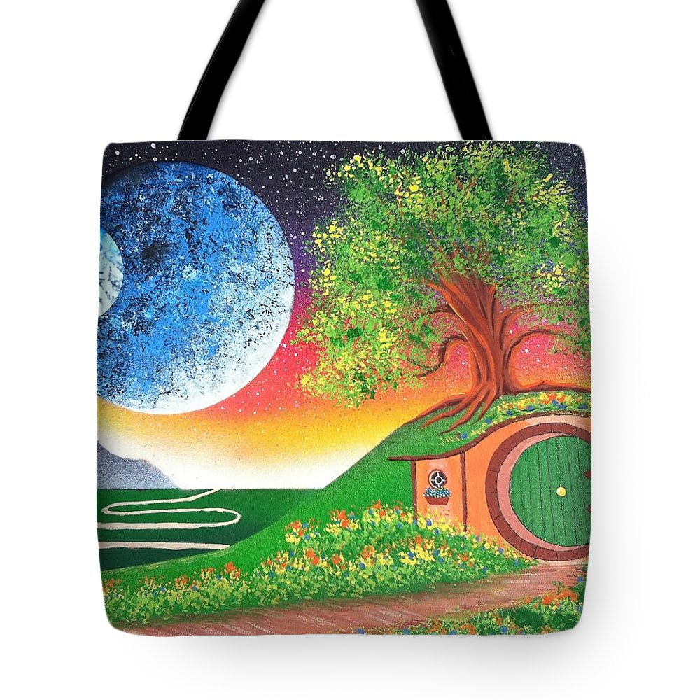 Hobbiton Tote Bag featuring the painting The Shires Moons by Drew Goehring