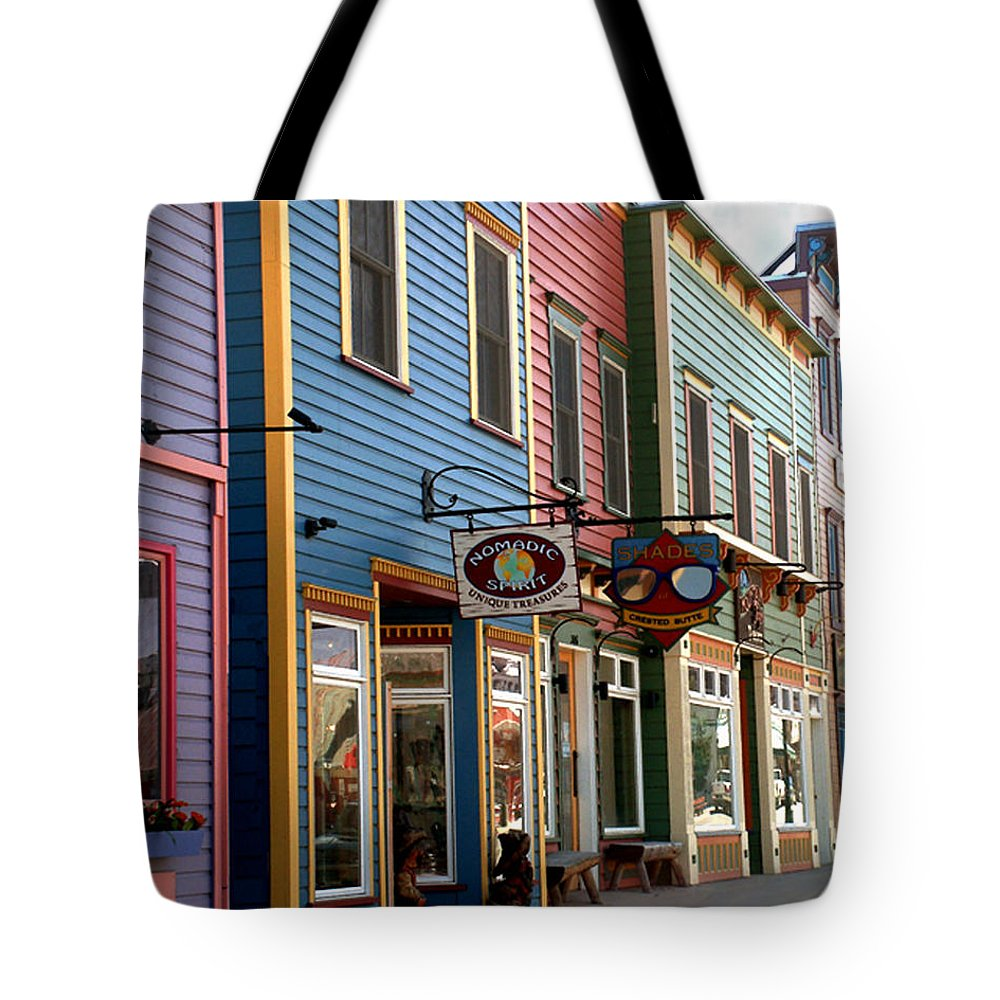 Landscape Tote Bag featuring the photograph The Shops In Crested Butte by RC DeWinter