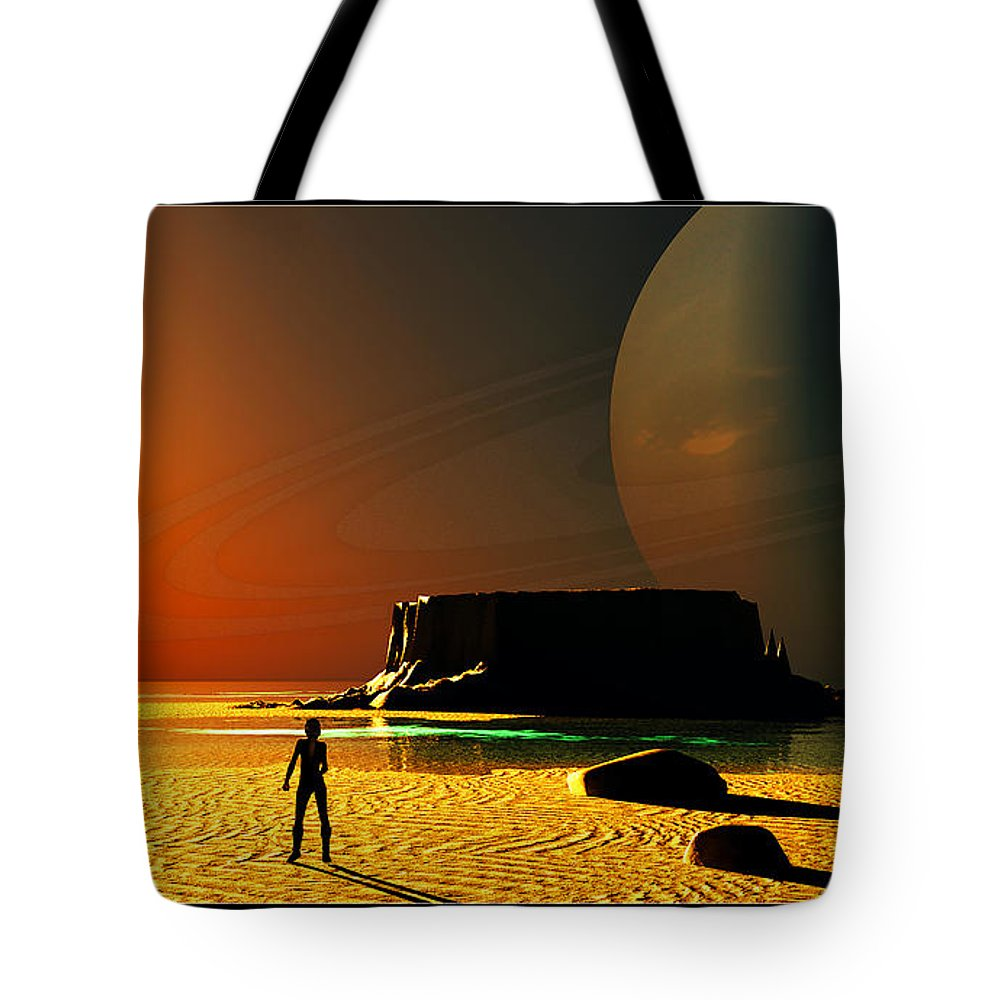 Portrait Tote Bag featuring the digital art The Shore Of The Cupric Seas... by Tim Fillingim