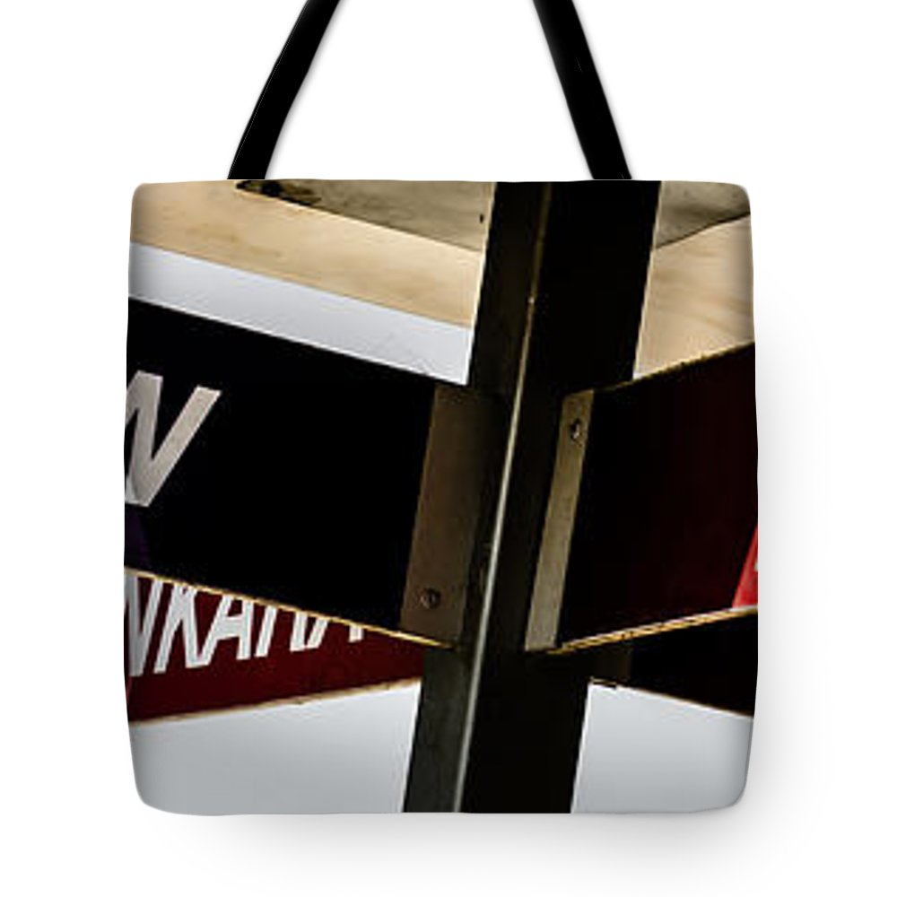 Advice Tote Bag featuring the photograph The Signpost by Sotiris Filippou