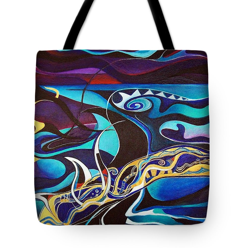Homer Odyssey Ulysses Sirens Sea Singing Acrylic Abstract Symbolic Greek Mythology Tote Bag featuring the painting the singing of the Sirens by Wolfgang Schweizer