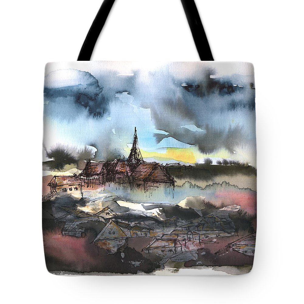 Watercolor Landscape Tote Bag featuring the painting The Sinking Village by Aniko Hencz