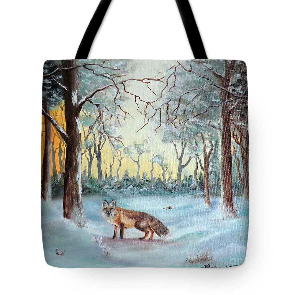 Fox Tote Bag featuring the painting The Sneaky Red Fox by Lora Duguay