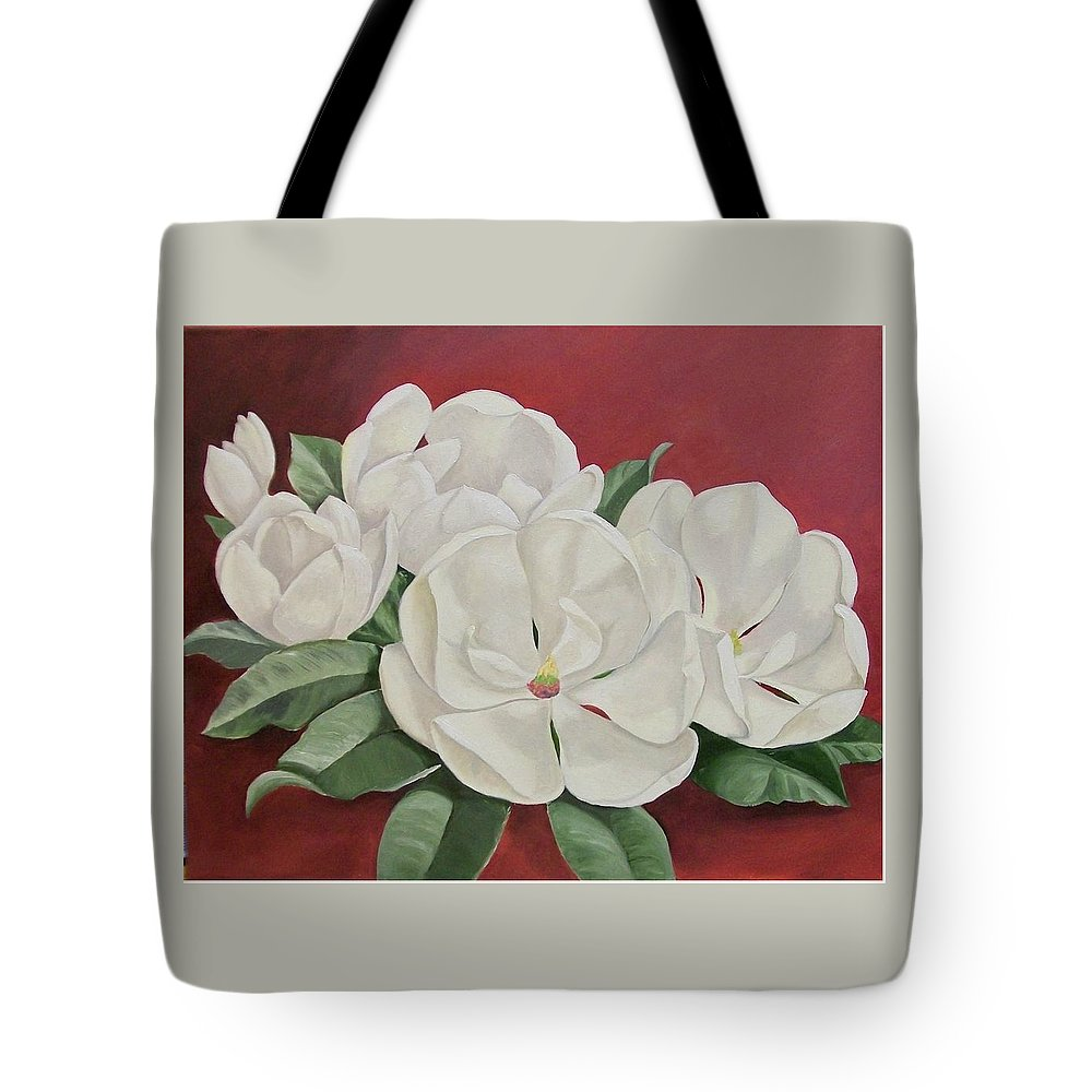Flower Tote Bag featuring the painting The Southern Beauty by Wanda Dansereau